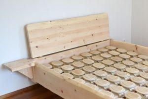 "Zirbenholz Massivholz-Bett - Modell ""Mondseewolke"" in Zirbe"